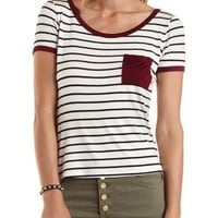 Burgundy Cmb Striped Ringer Pocket Tee by Charlotte Russe