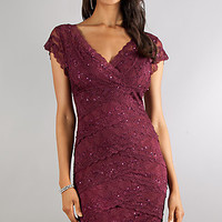 Knee Length Short Sleeve Layered Lace Dress by Jump