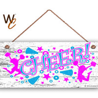 """CHEER Sign, Cheerleading Sign, Teenager Room Sign, Gift For Her, Distressed Style, 6"""" x 14"""" Sign, Cheerleader Sports Sign, Made To Order"""