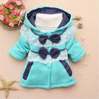 Lovely Children Outwear Clothing Baby Girls Hooded Coat Bow Decor Button Style Jacket SV010938|27701 = 1932382084
