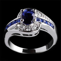 Fashion Women Lady Blue Crystal White Gold Filled Wedding Rings Jewelry Gift Size 7 8 9