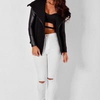 City Life Black Quilted Waterfall Jacket | Pink Boutique