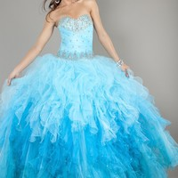 Jovani 6708 Strapless Turquoise Ombre Ball Gown
