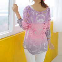 Violet Ombre Lace Long Sleeve Overall/Blouse