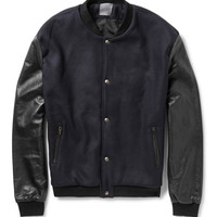 Lot78 - Two-Tone Wool-Blend and Leather Bomber Jacket | MR PORTER
