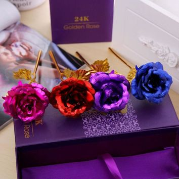 1PCS Romantic 24K Gold Foil Rose Wedding Party Decoration Valentine's Day lover Gift Length 10Inch