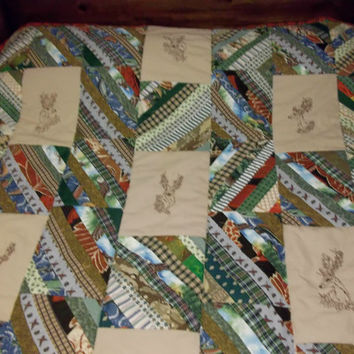 handmade quilt embroidered deer pieced strip blocks wildlife fish ducks