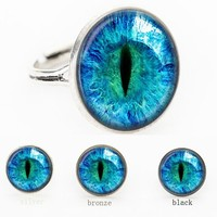 SUTEYI blue Dragon Eye Photo Glass Cat Eye ring gift for send friend adjustable rings handmade 100%