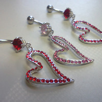 14 Gauge Surgical Stainless Steel Belly Ring with Dangling Red or Pink Rhinestone Heart