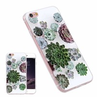 Succulent Plant Pattern Fashion TPU Phone Case Cover for iPhone Samsung Huawei