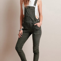 Fashion green vintage overalls all-match slim Siamese trousers
