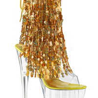 Ankle Stripper Boots With 4 Layers Of Gold Sequins Fringe