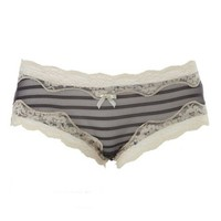 LACE & SHEER MESH STRIPED BIKINI PANTIES