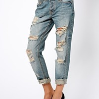 ASOS Brady Low Rise Slim Boyfriend Jeans in Mid Wash Blue With Extreme