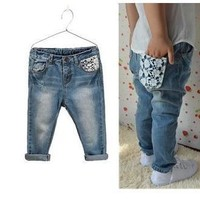 new 2016 fashion big brand kids clothes denim pants children trousers baby boys girls Lace skinny jeans Freeshipping