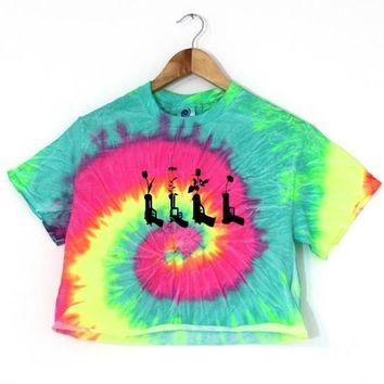 Flower Pistols Fluorescent Rainbow Tie-Dye Graphic Cropped Unisex Tee