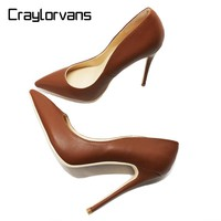 Craylorvans 12/10cm Heel Height Women Shoes NEW FASHION High Heels For Women Brown Color Women Pumps Size11 Wedding Dress Shoes