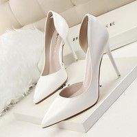 New Spring Single High Heels Shoes Women Pumps Thin Heels Concise Summer Elegant High Heeled Shoes Shallow OL Shoes Heels G638-5
