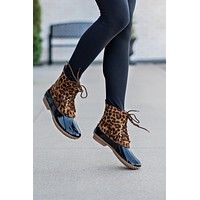 Dylan Lace Up Two Tone Rain Duck Boot : Leopard