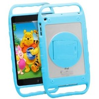 GreatShield TUFF Series Kid Friendly Rugged Hybrid Case Cover for Apple iPad Mini 7.9 with Kickstand & Hand Grips (Blue)