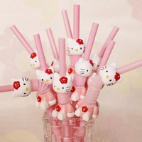 5PCS Cartoon Hello Kitty Cute Plastic Drinking Straws Reusable Plastic Drinking Straw For Kids Birthday Party Decoration