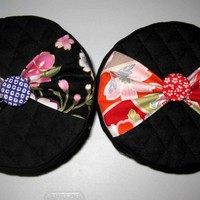 TOILET PAPER COVER Roll Holder - fabric kawaii Japanese bow button