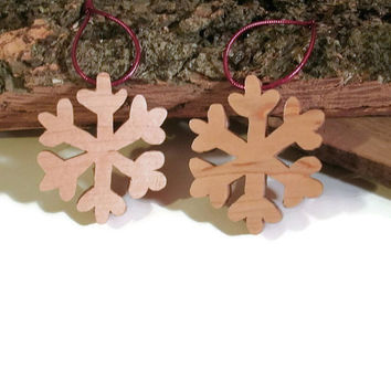 Wooden Snowflake Ornaments -  Set of two - Ready to ship