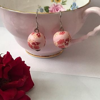 Floral pink red handmade polymer bead earrings