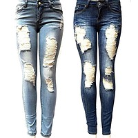 Women's Skinny Hole Ripped Jeans New Fashion Pants