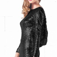 Indie XO Sparkling Night Black Sequin Long Sleeve Open Draped Backless Bodycon Dress - Just Ours!