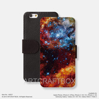 Nebula Galaxy iPhone leather wallet cover iPhone case Samsung Galaxy case 027