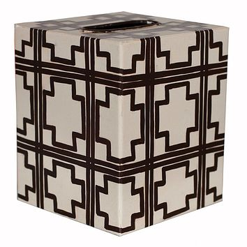 Cream with Brown Squares Tissue Box Cover