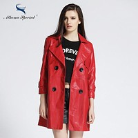 Athena Special 2017 New Designer Trench Leather Coats For Women Elegant Ladies' Casual PU Faux Leather Basic Jackets Hot Sale