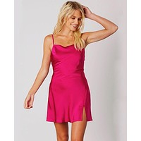 Cotton Candy LA - Satin Cowl Neck Mini Dress - Orchid