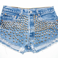 High Waisted Studded Shorts, Vintage Denim Shorts, High Rised Frayed Denim Shorts, Coachella Fashion, Blue Denim Shorts