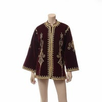 Vintage 70s Ethnic Velvet Metallic Embroidered Jacket 1970s Crimson + Gold Embellished Hippie Boho Gypsy Bell Sleeve Goth Jacket