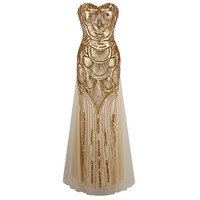 1920s Gatsby Style Long Strapless Gold Off-Shoulder Dress