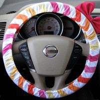 Sunset Blush Chevron Color Mix Steering Wheel Cover by BeauFleurs