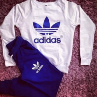 "Women Fashion ""ADIDAS"" Print Hoodie Top Sweater Pants Sweatpants Set Two-Piece Sportswear BLUE"