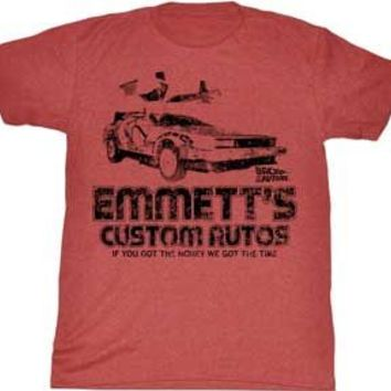 Back to the Future Emmett's Custom Autos Adult Heather Red T-Shirt
