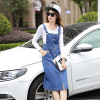 Women's Trending Popular Fashion 2016 Summer Beach Holiday Long Jeans Button Casual Party Playsuit Clubwear Bodycon Boho Dress _ 5561