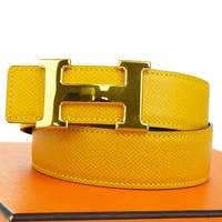 Auth HERMES Constance Reversible H Buckle Belt Leather Gold Blue #65 37BF422
