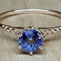 Vintage Antique 1.00ct Blue Sapphire 14k Rose Gold Art Deco Style Alternative Engagement Ring