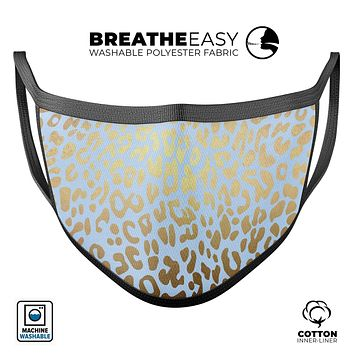 Gold Flaked Animal Light Blue 2 - Made in USA Mouth Cover Unisex Anti-Dust Cotton Blend Reusable & Washable Face Mask with Adjustable Sizing for Adult or Child