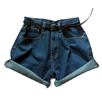 Dark Blue Oversized Roll Up High Waist Shorts - Choies.com
