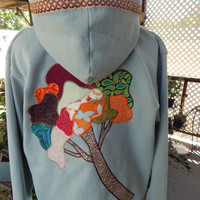Earthy Tree Upcycled Zip Up Hoodie Vintage Flower Trim OOAK Size XL Patchwork  Hippie clothes, boho chic, zip up jacket festival