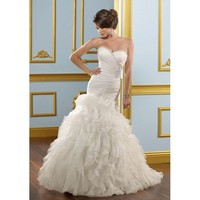 Organza Sweetheart  Mermaid Gown and Ruffled Skirt with Chapel Train 2012 Strapless Wedding Dress - Basadress.com