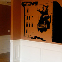 Banksy Decal Wall Art Vinyl Decal - Rat Painting Building - Wall Decor Vinyl Decal