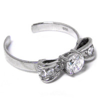 Sterling Silver 925 Cubic Zirconia BOW SOLITAIRE Toe Ring | Body Candy Body Jewelry