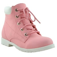 Kids Ankle Boots Ankle Padded Hiking Comfort Lace Up Shoes Pink